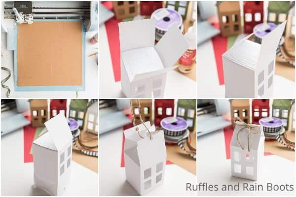 photo collage tutorial of how to make a gift box or gift card holder with cricut