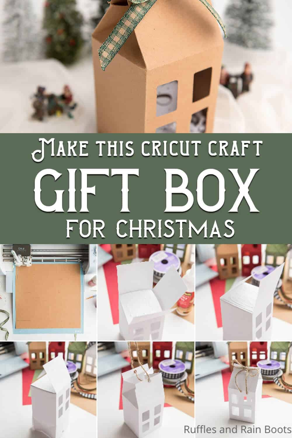 photo collage of christmas gift box cut file set for cricut or silhoutette with text which reads make this cricut craft gift box for christmas