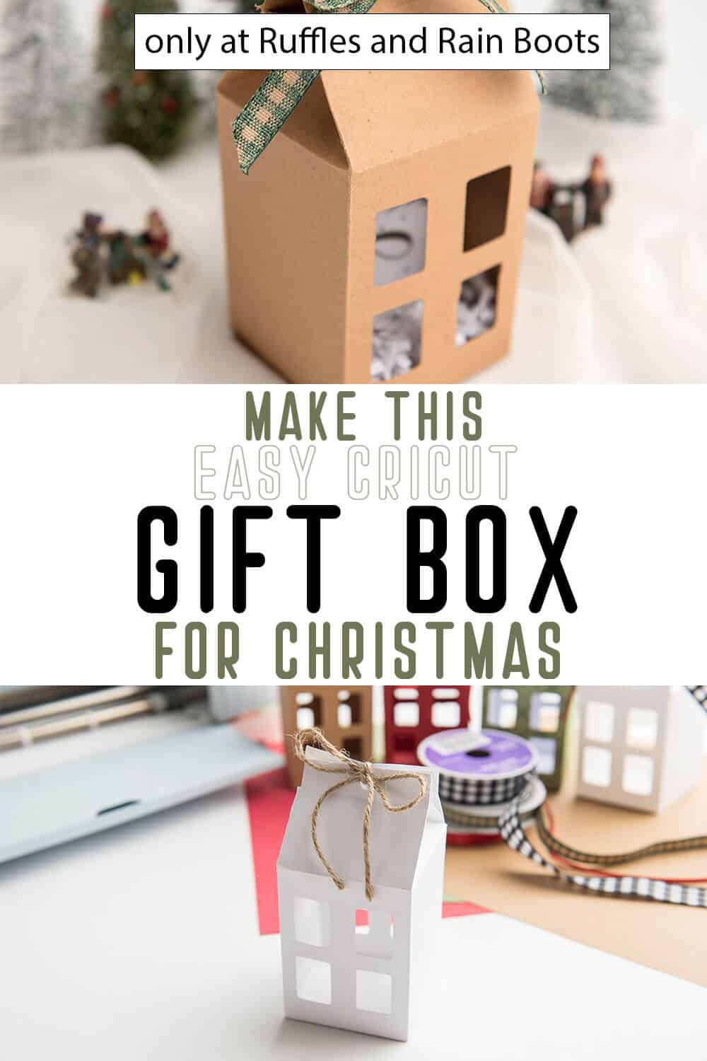 photo collage of easy diy house gift card box for christmas with text which reads make this easy cricut gift box for christmas