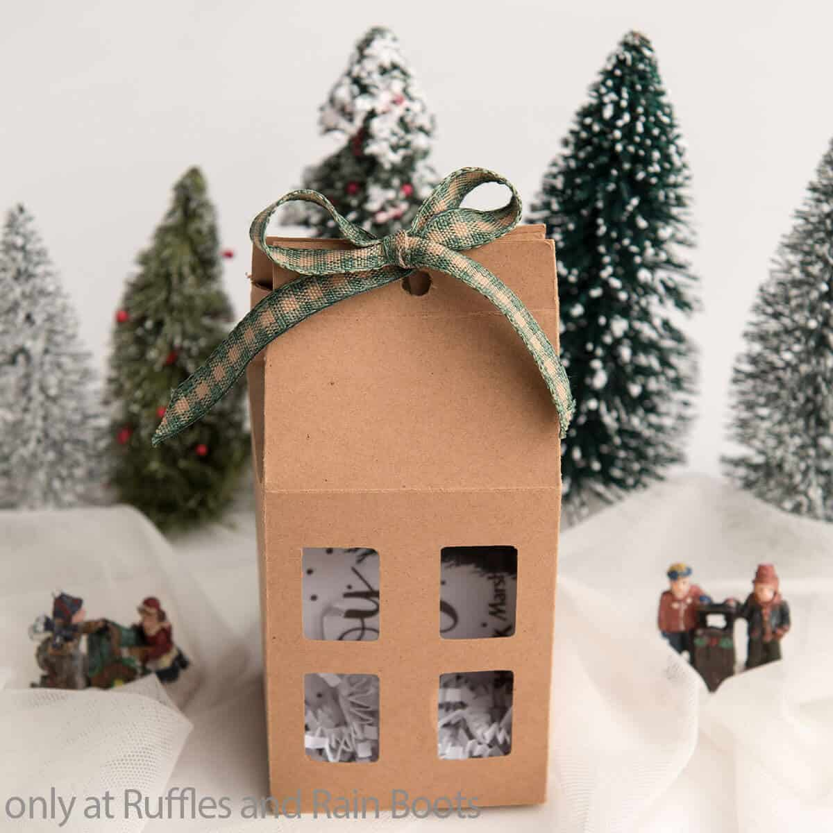 cut file for christmas gift box house