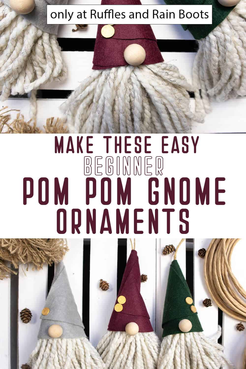photo collage of diy pom pom gnome christmas ornaments with text which reads make these easy beginner pom pom gnome ornaments