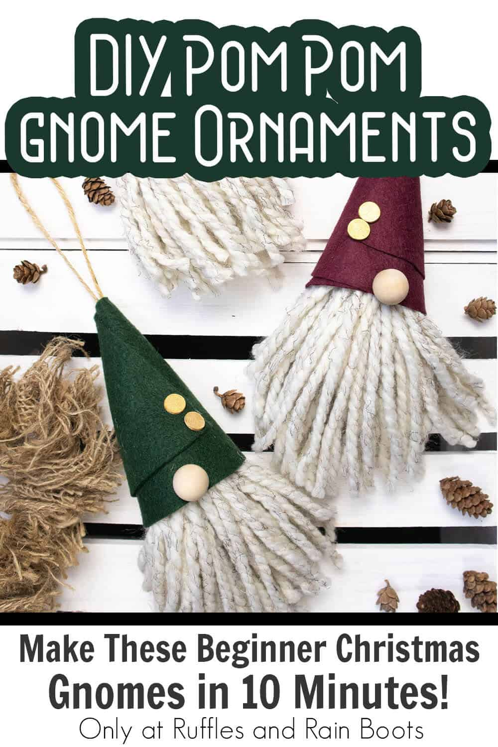 diy gnome ornament beginner gnome with text which reads diy pom pom gnome ornaments make these beginner christmas gnomes in 10 minutes!