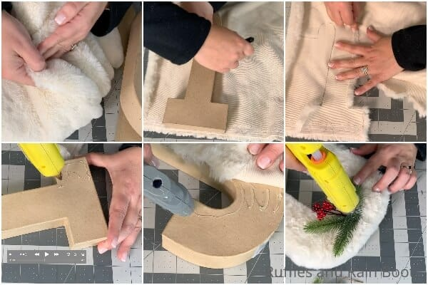 photo collage of how to make faux fur letters