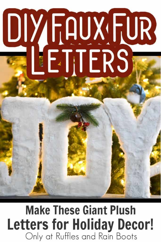 holiday decor tutorial to make faux fur letters with text which reads diy faux fur letters make these giant plush letters for holiday decor!