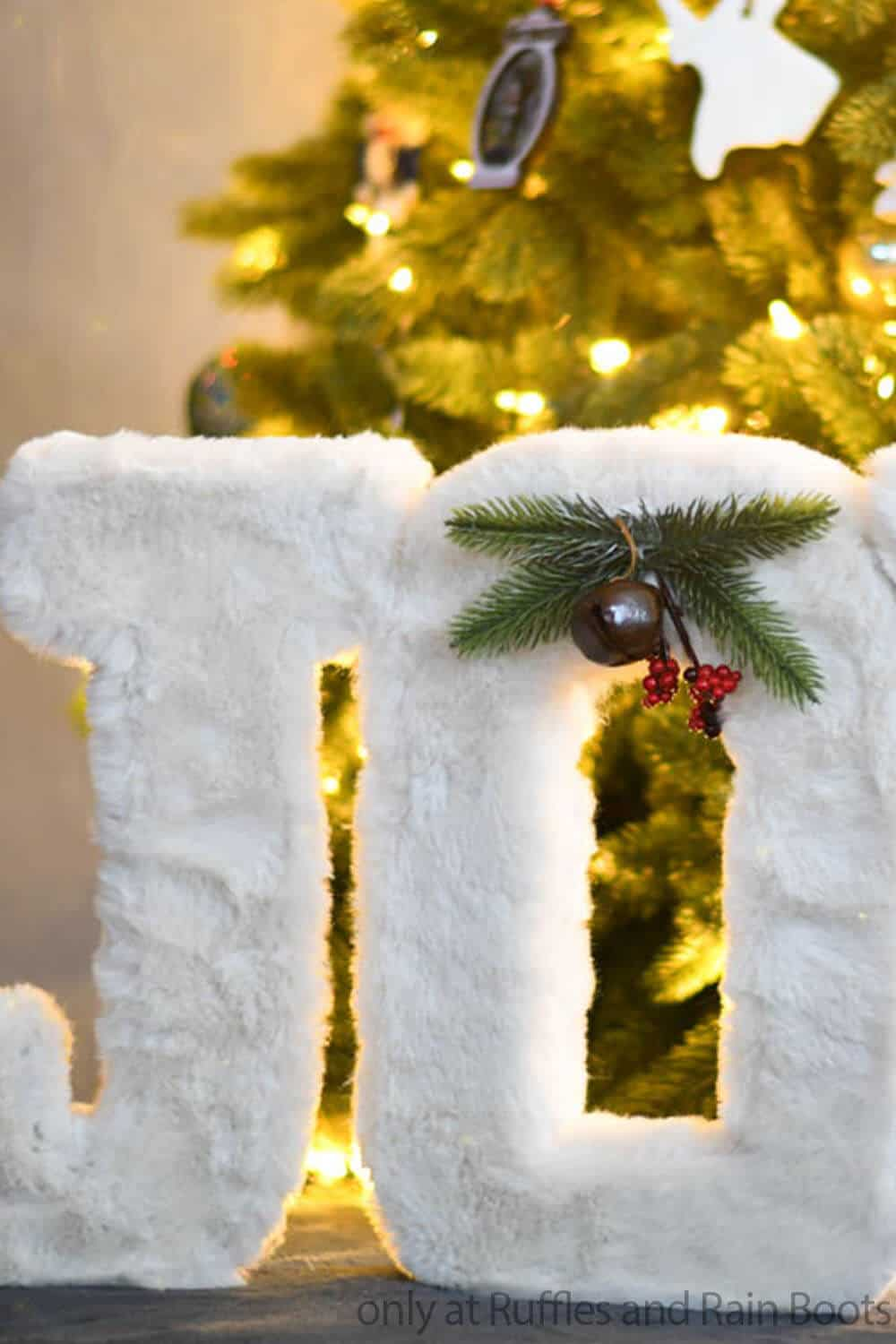 giant faux fur letters for holiday decor