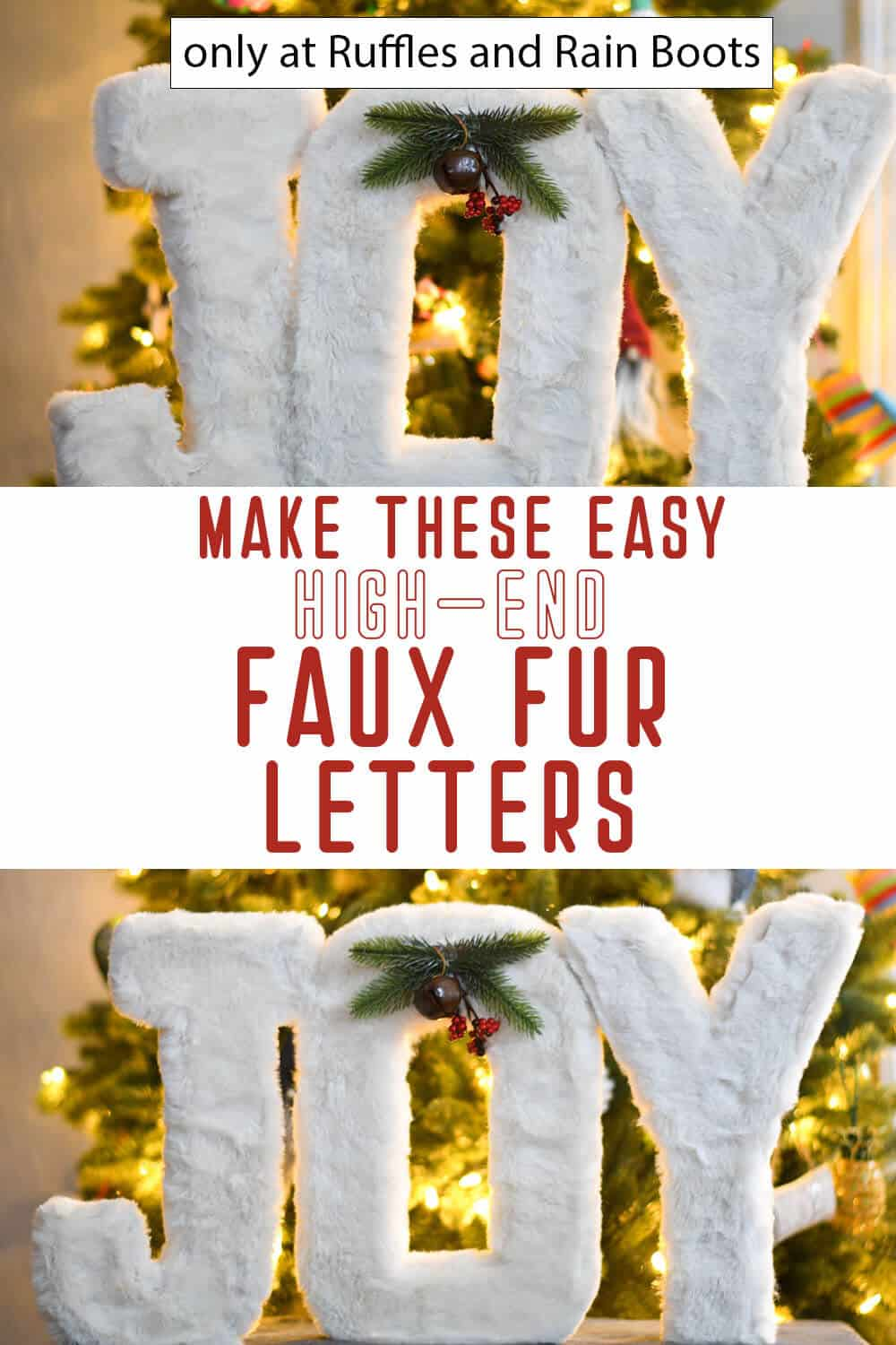 photo collage of diy fur letters for holiday decor with text which reads make these easy high-end faux fur letters