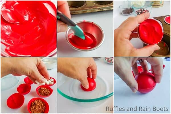 photo collage tutorial of how to make christmas mickey hot cocoa bombs