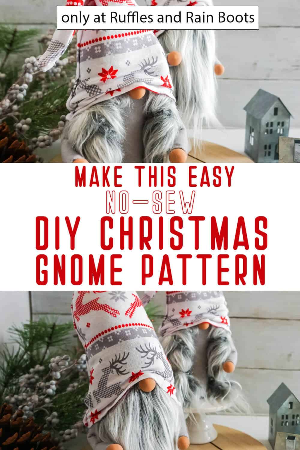 photo collage of easy no-sew diy scandinavian gnome pattern for christmas with text which reads make this easy no-sew diy christmas gnome pattern