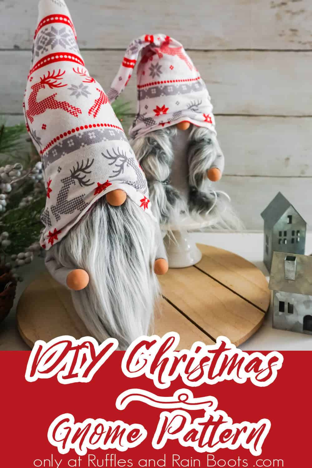 easy no-sew diy christmas gnome pattern for scandinavian gnomes with text which reads diy christmas gnome pattern