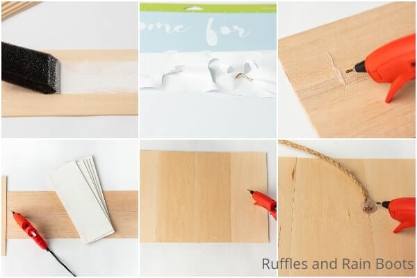 photo collage tutorial of how to make a home for the holidays wood sign