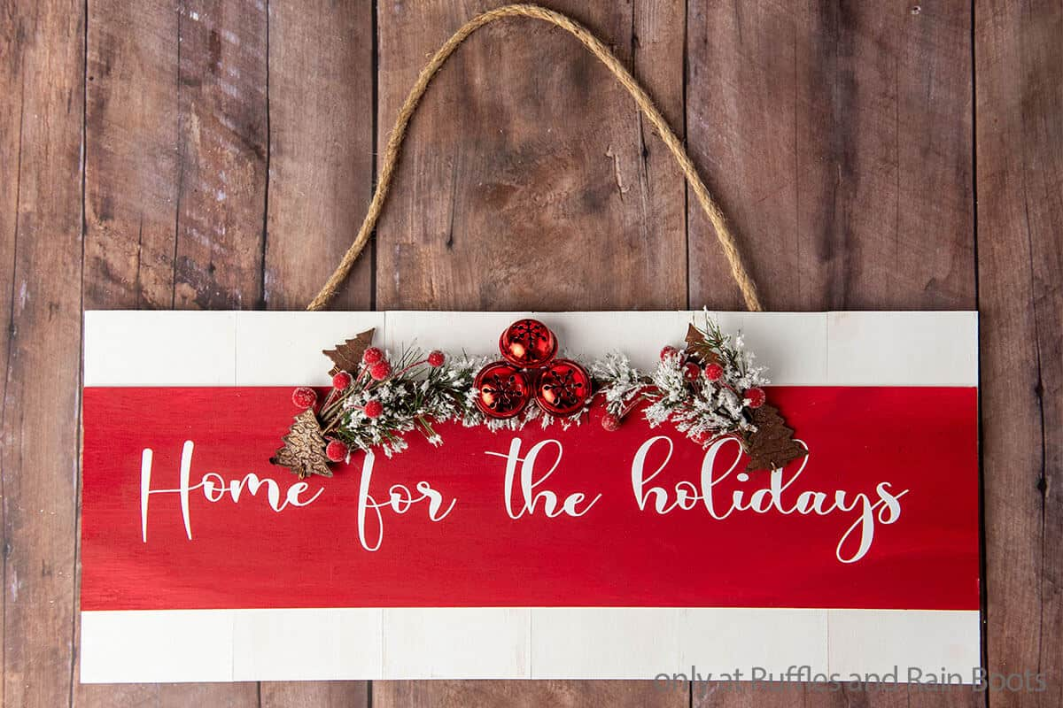 easy diy christmas wood sign for your front door or mantle