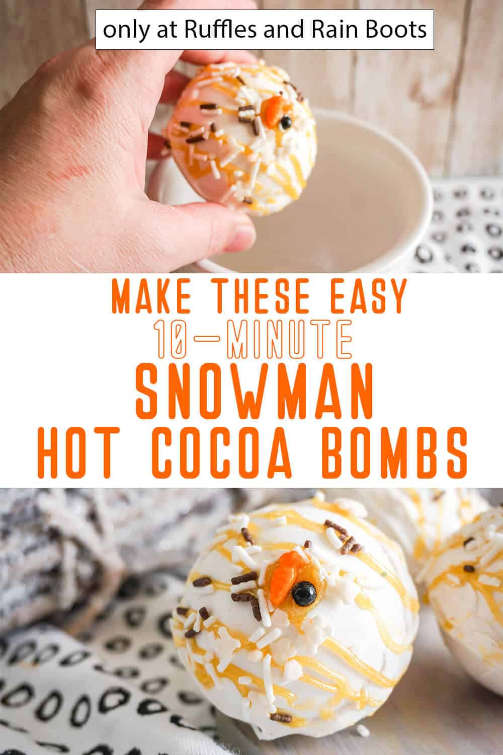 photo collage of white chocolate hot cocoa bombs with snowman sprinkles with text which reads make these easy 10-minute snowman hot cocoa bombs