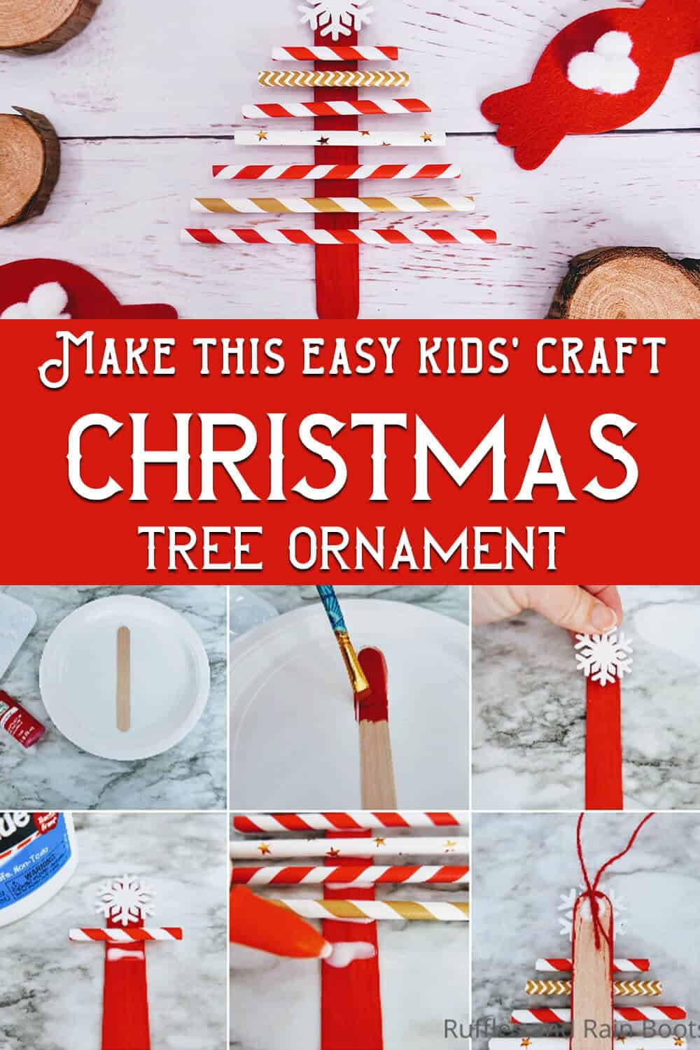 photo collage of easy kids christmas craft paper straw christmas tree ornament with text which reads make this easy kids craft christmas tree ornament