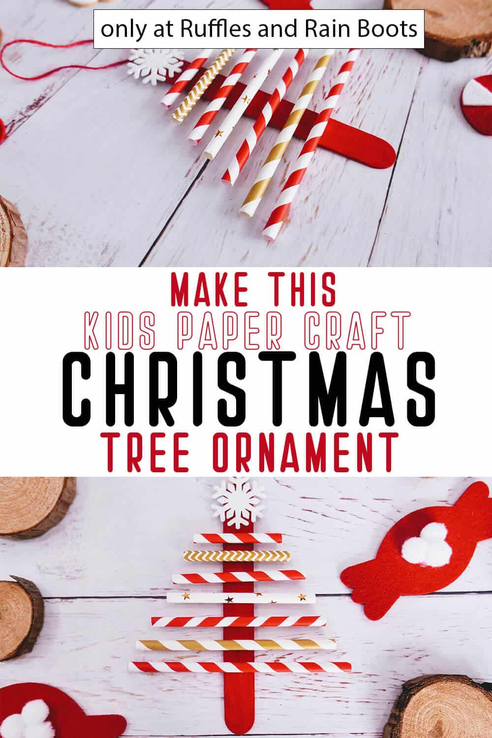 photo collage of kid-made ornament christmas tree from straws with text which reads make this kids paper craft christmas tree ornament