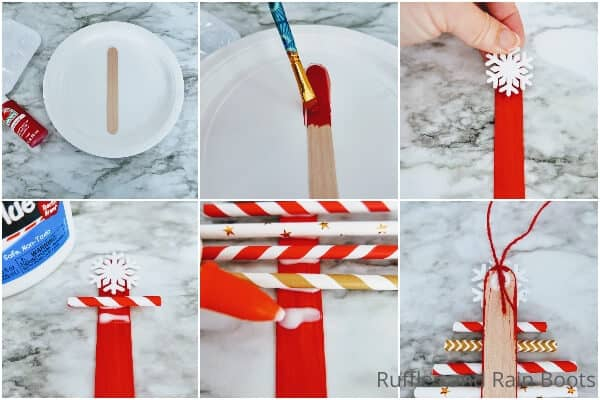 photo collage tutorial of how to make a paper straw christmas tree ornament kids craft