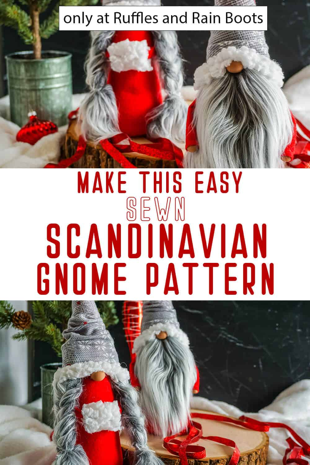 photo collage of christmas scandinavian gnome pattern sewn gnome with text which reads make this easy sewn scandinavian gnome pattern