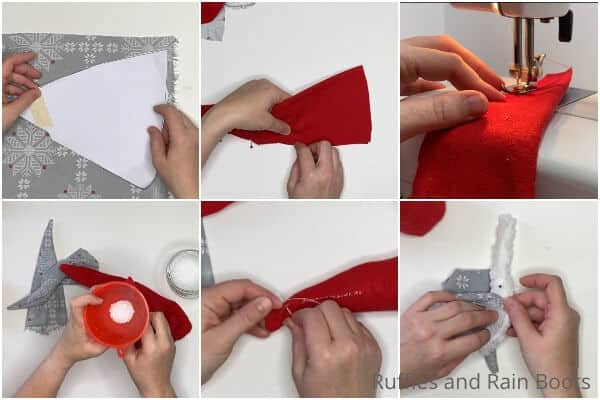 photo collage tutorial of how to make a scandinavian christmas gnome