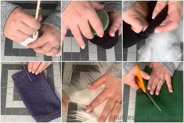 photo collage tutorial of how to make a standing sock gnome