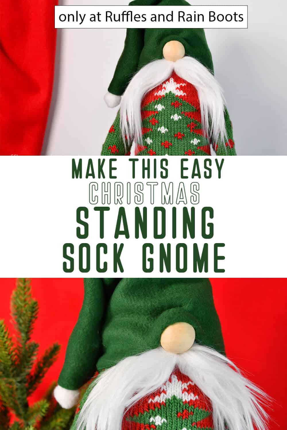 photo collage tutorial of DIY Christmas gnome that stands with text which reads make this easy christmas standing sock gnome