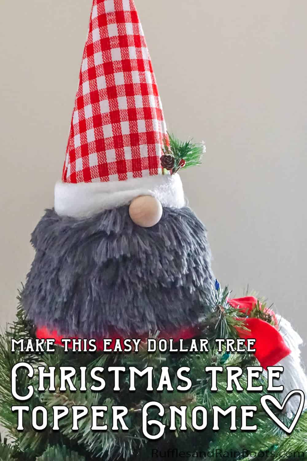 dollar tree christmas tree topper gnome craft with text which reads make this easy dollar tree christmas tree topper gnome