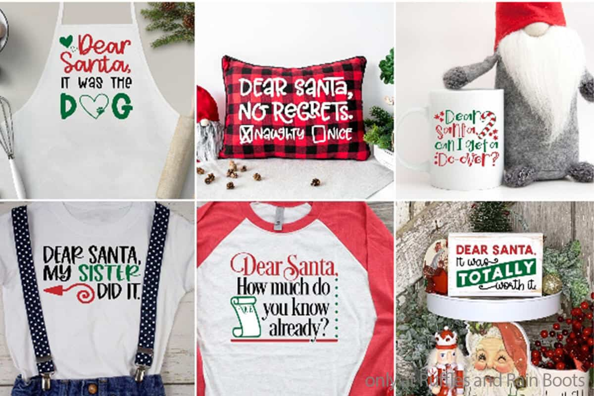 photo collage of christmas cut file set for cricut or silhouette with funny dear santa the dog did it phrases