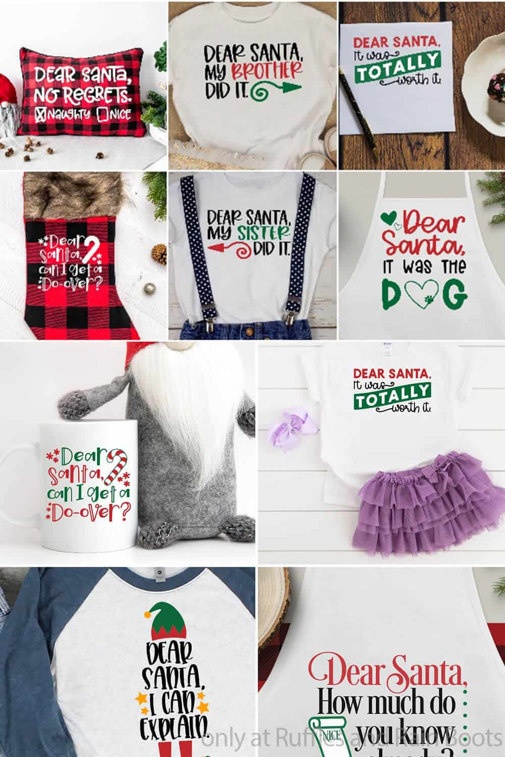 photo collage of christmas cut file set for cricut or silhouette with funny dear santa no regrets phrases