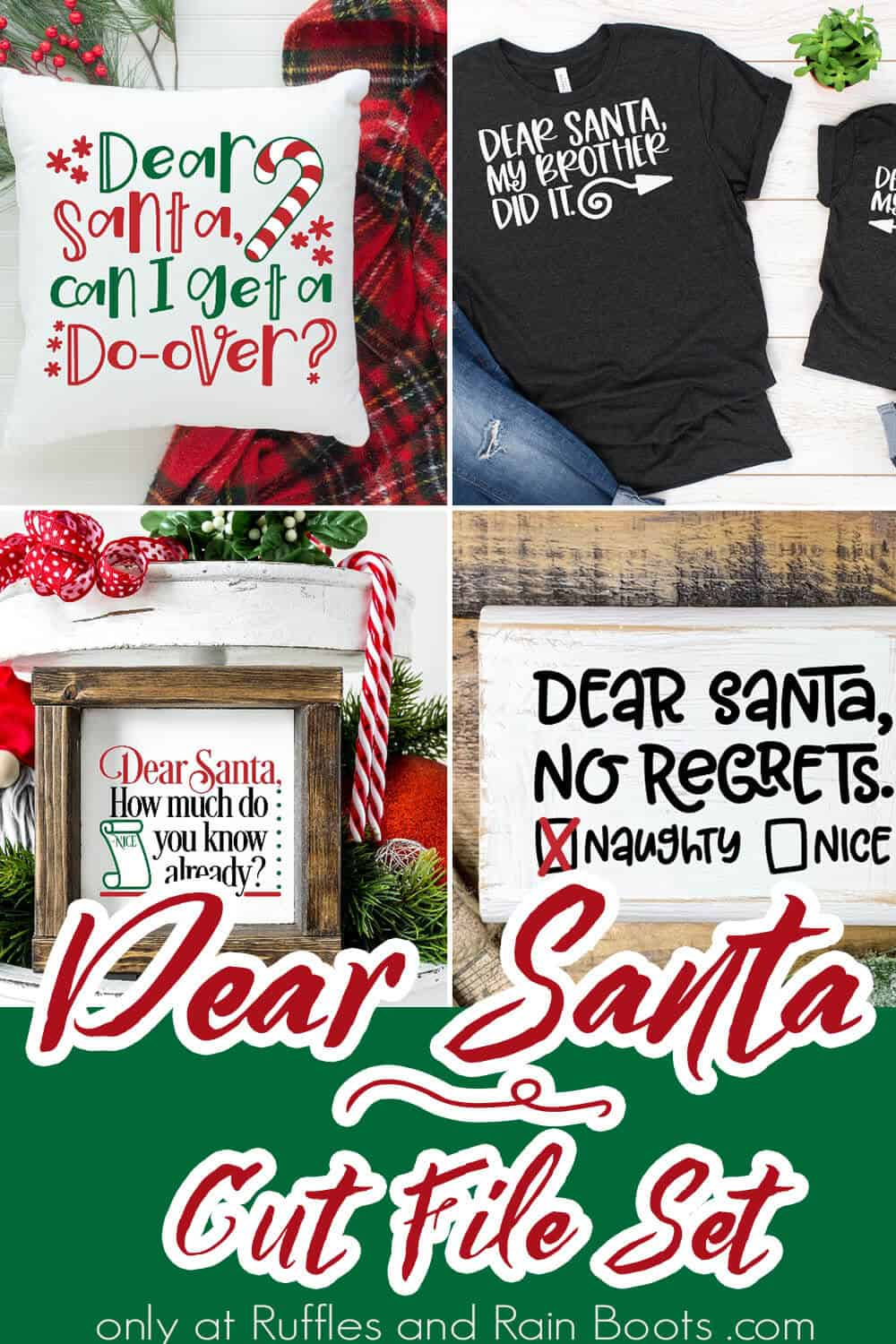 photo collage of christmas cut file set dear santa phrases for kids shirts with text which reads dear santa cut file set