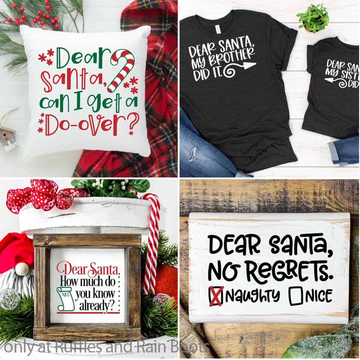 photo collage of christmas dear santa cut file sets for cricut or silhouette