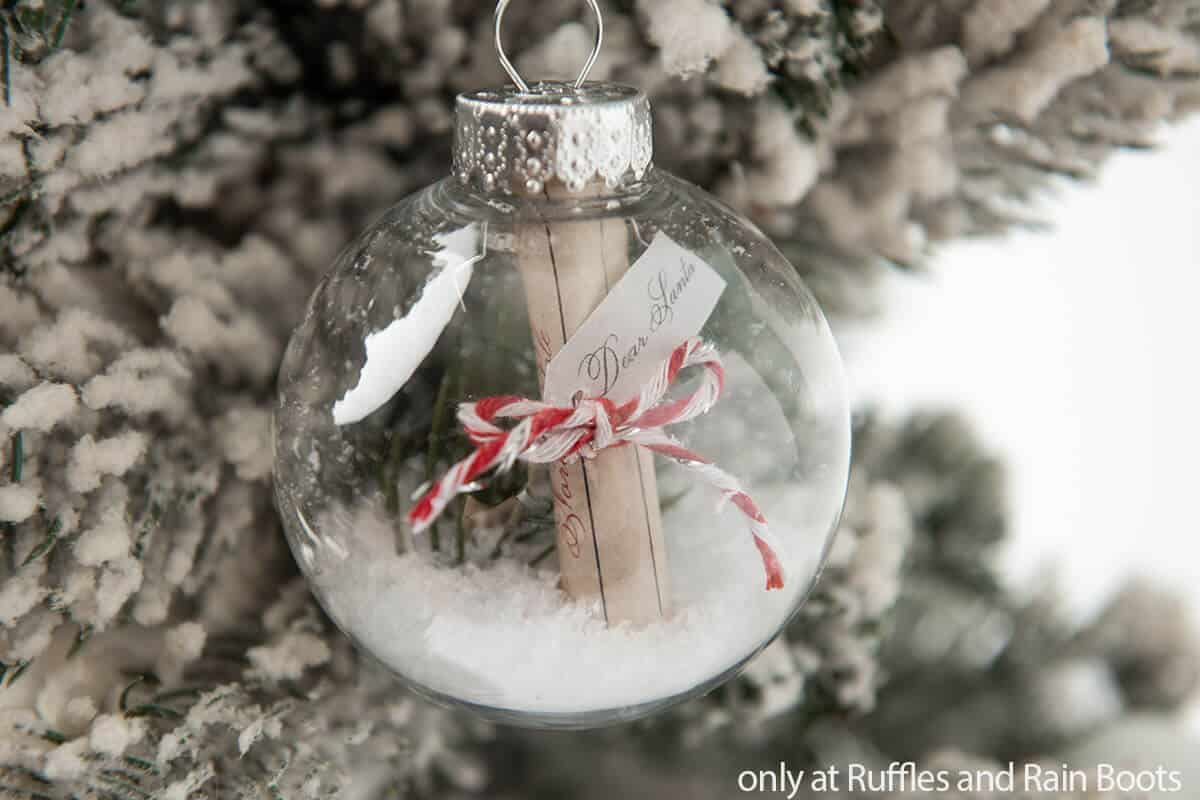 easy Christmas ornament diy with a letter to santa in it