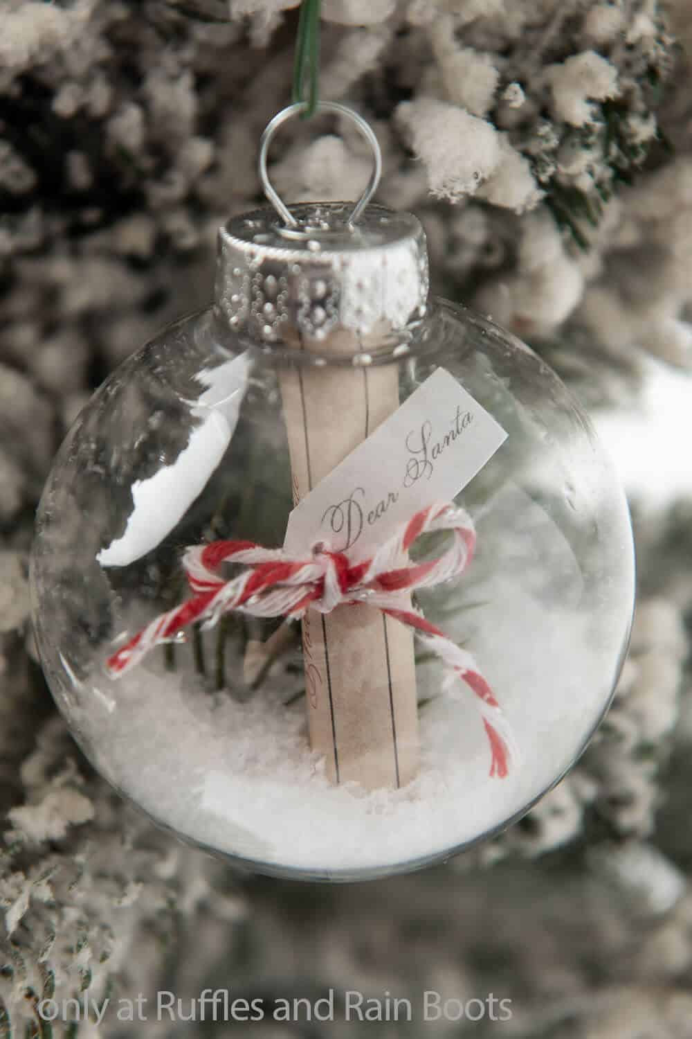 farmhouse christmas ornament with a letter for santa