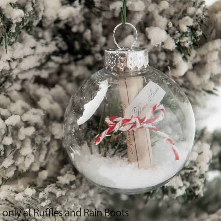 christmas ornament diy with a letter to santa claus in it