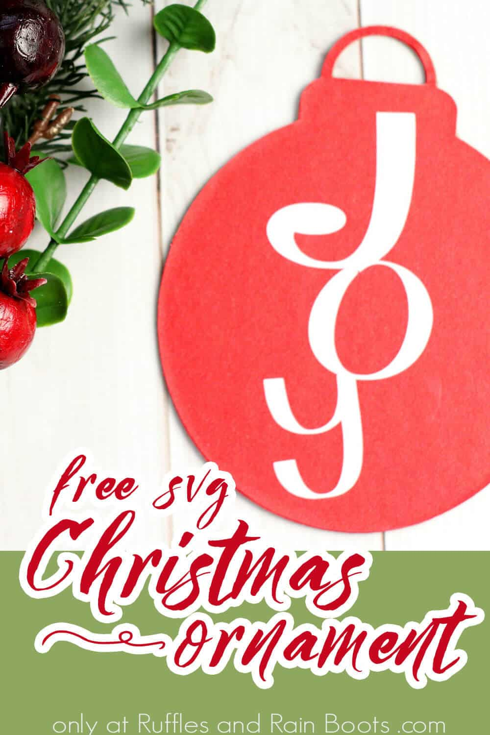 christmas joy ornament with text which reads free svg christmas ornament