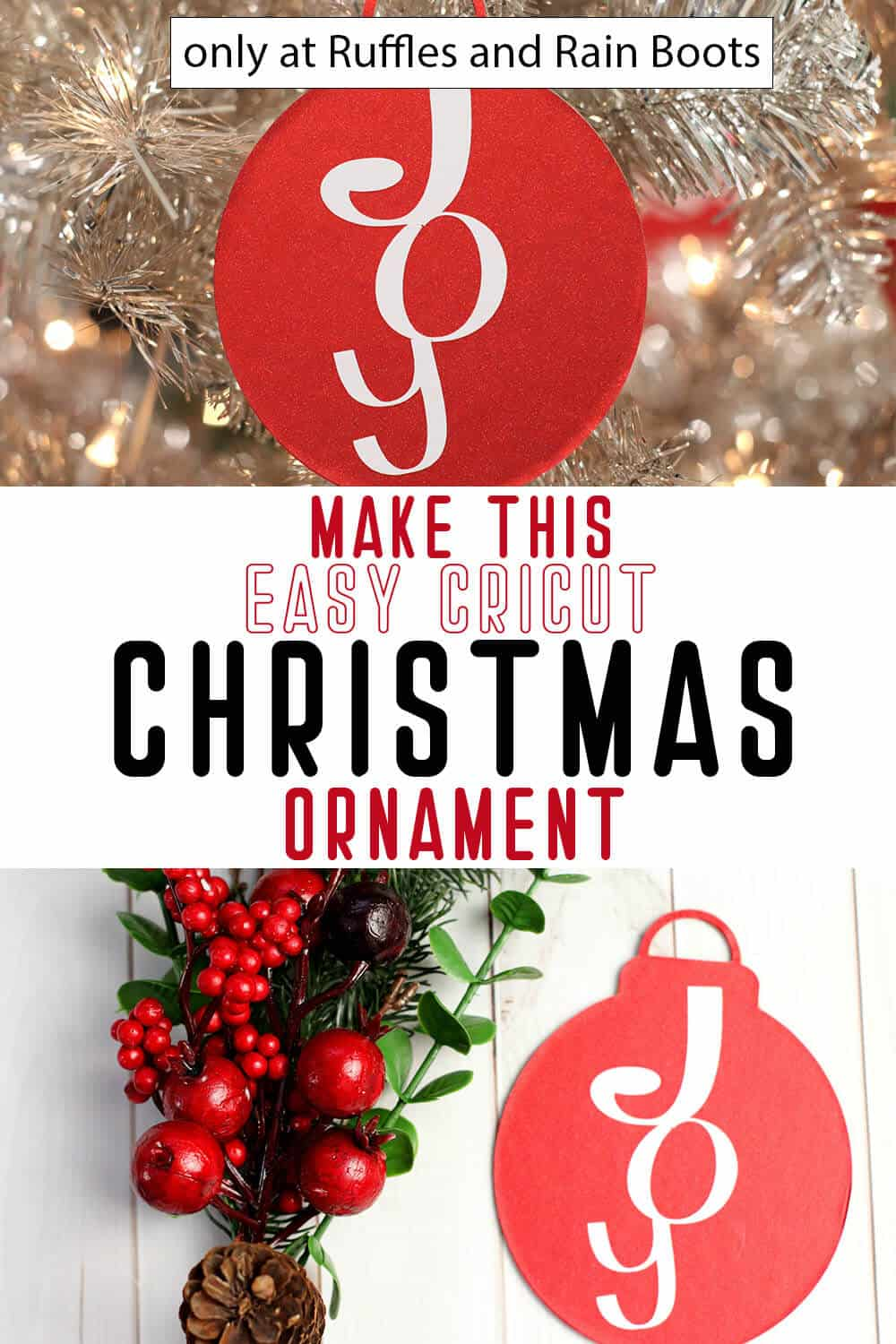 photo collage of joy christmas ornament svg with text which reads make this easy cricut christmas ornament