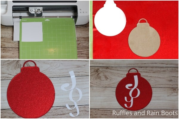 photo collage tutoriaal of how to make a joy christmas ornament with cricut file