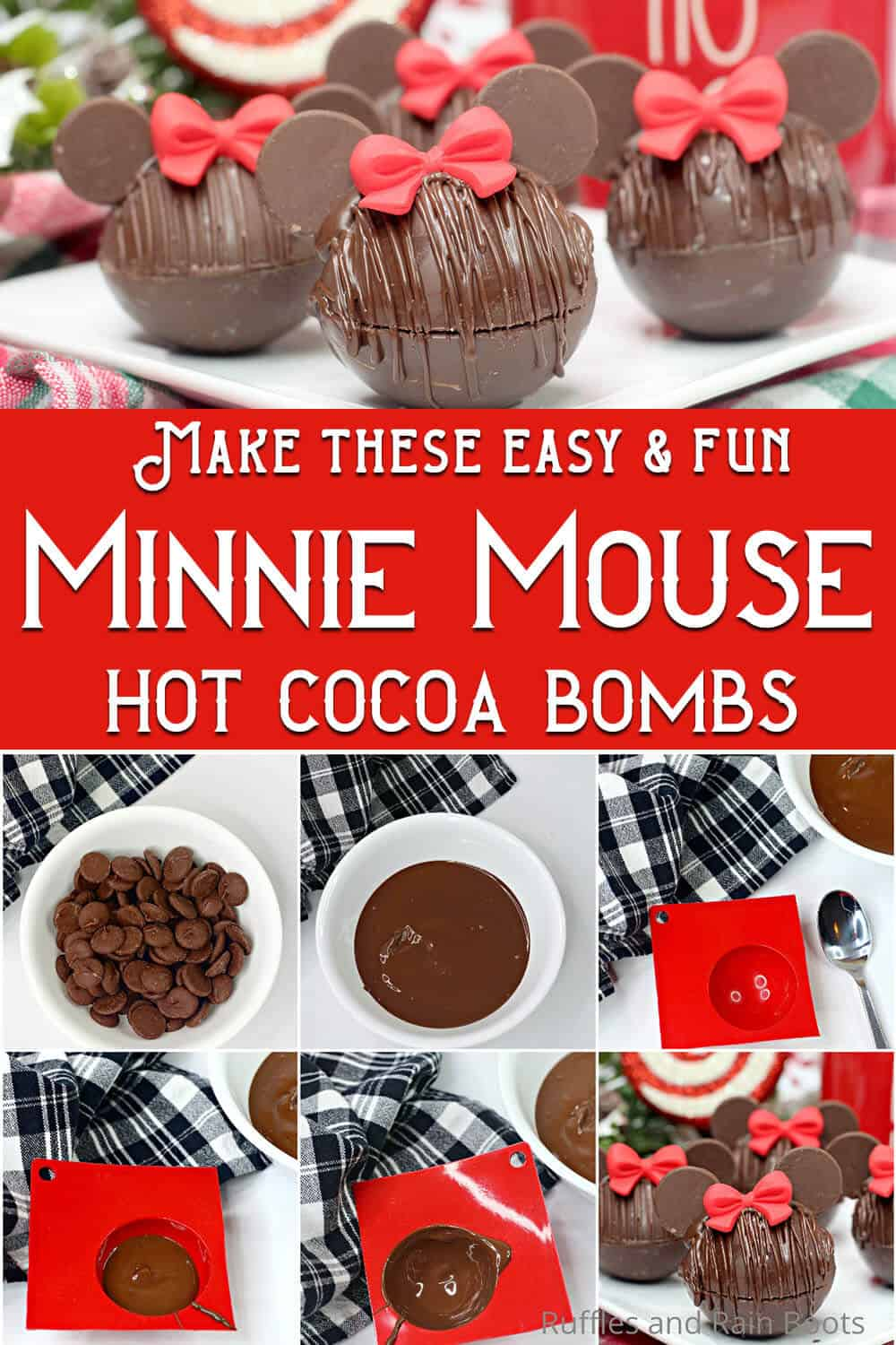 photo collage of minnie mouse hot chocolate bombs with text which reads make these easy & fun minnie mouse hot cocoa bombs