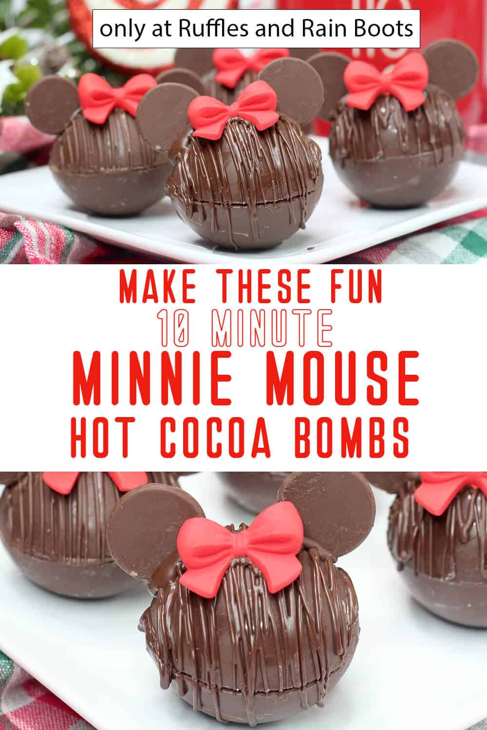 photo collage of minnie hot chocolate bombs with text which reads make these fun 10-minute minnie mouse hot cocoa bombs