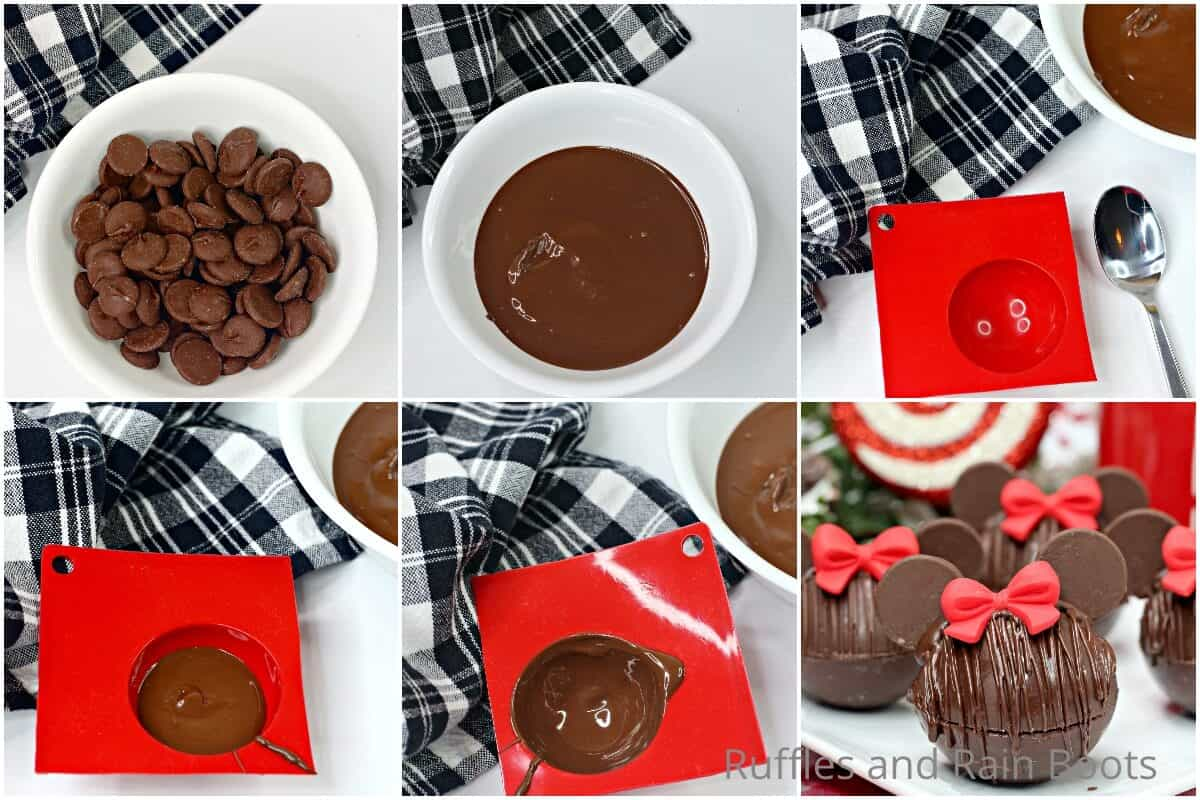 photo collage tutorial of how to make minnie hot cocoa bombs