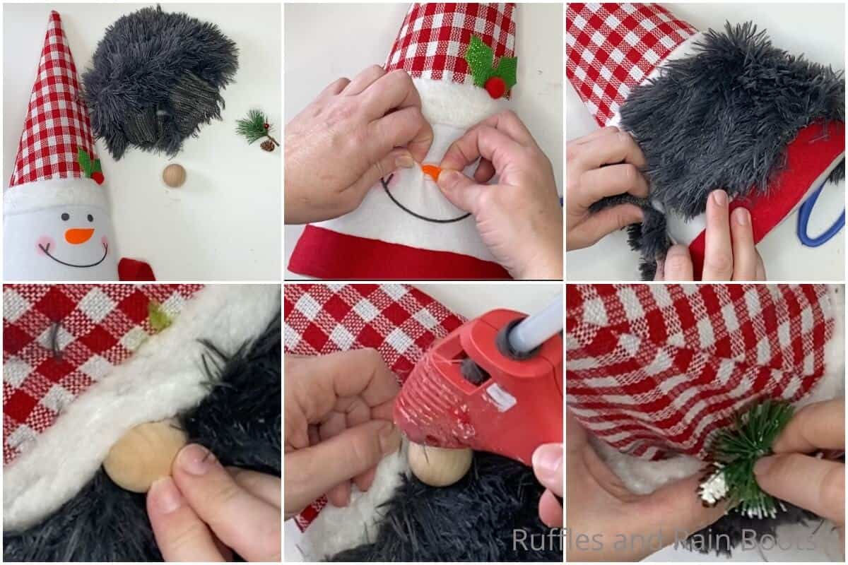 photo collage tutorial of how to make a dollar tree gnome tree topper