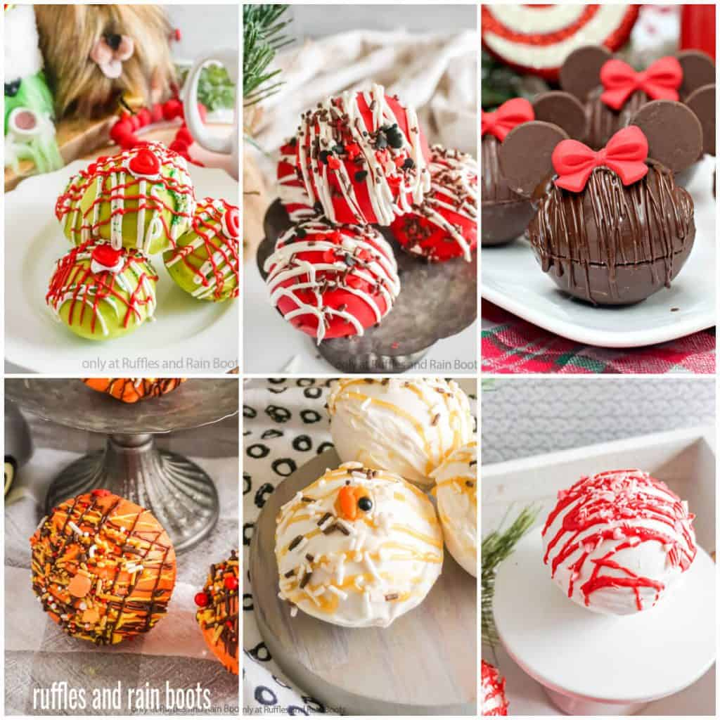 six image square collage of colorful hot cocoa bombs with text which reads ruffles and rain boots