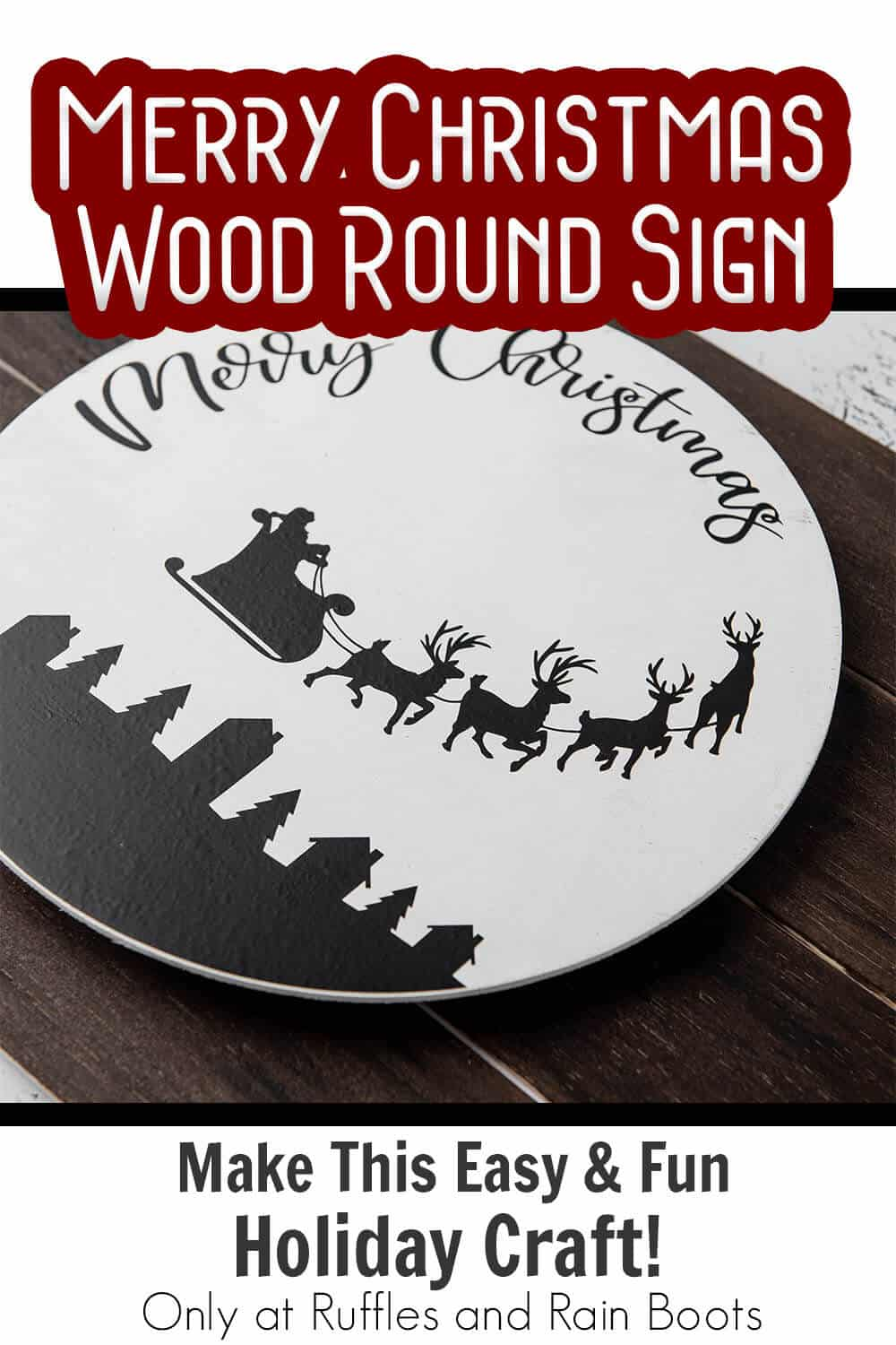 santa sleigh wood round sign with text which reads merry christmas wood round sign make this easy & fun holiday craft!