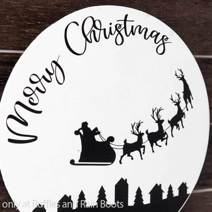 easy merry christmas wall sign with santa