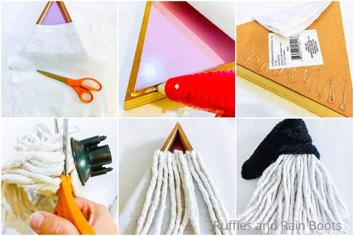 photo collage of how to make a dollar tree gnome from a triangle shelf