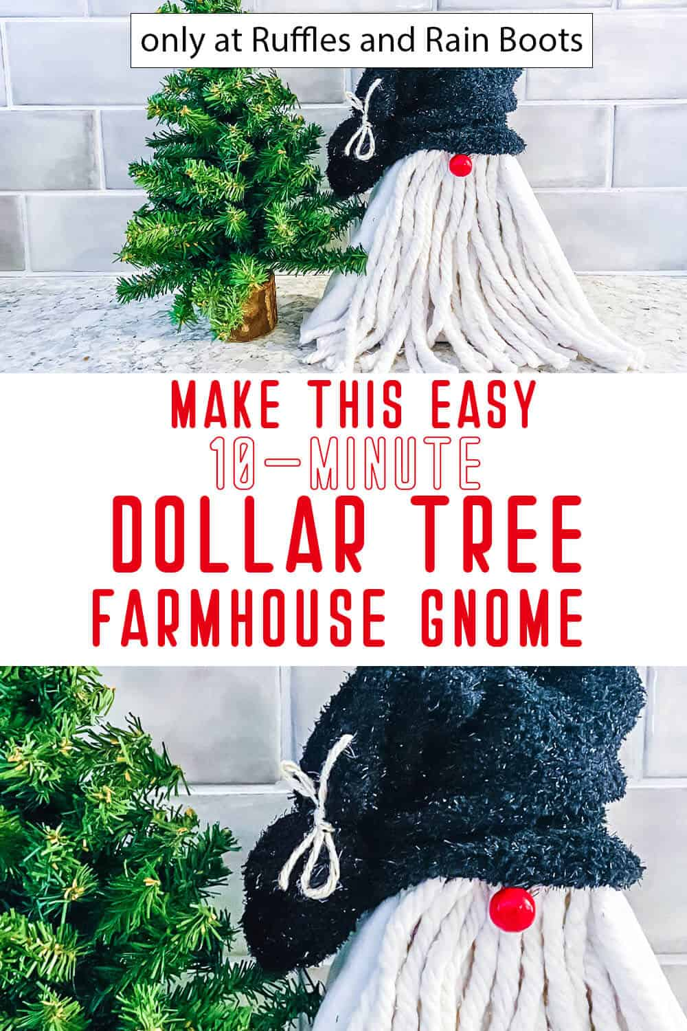 photo collage of dollar tree diy gnome with text which reads make this easy 10-minute dollar tree from house gnome