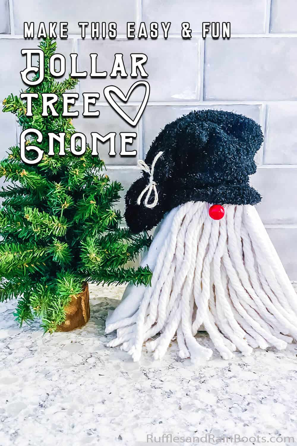 dollar store gnome from a sock and triangle shelf with text which reads make this easy & fun dollar tree gnome