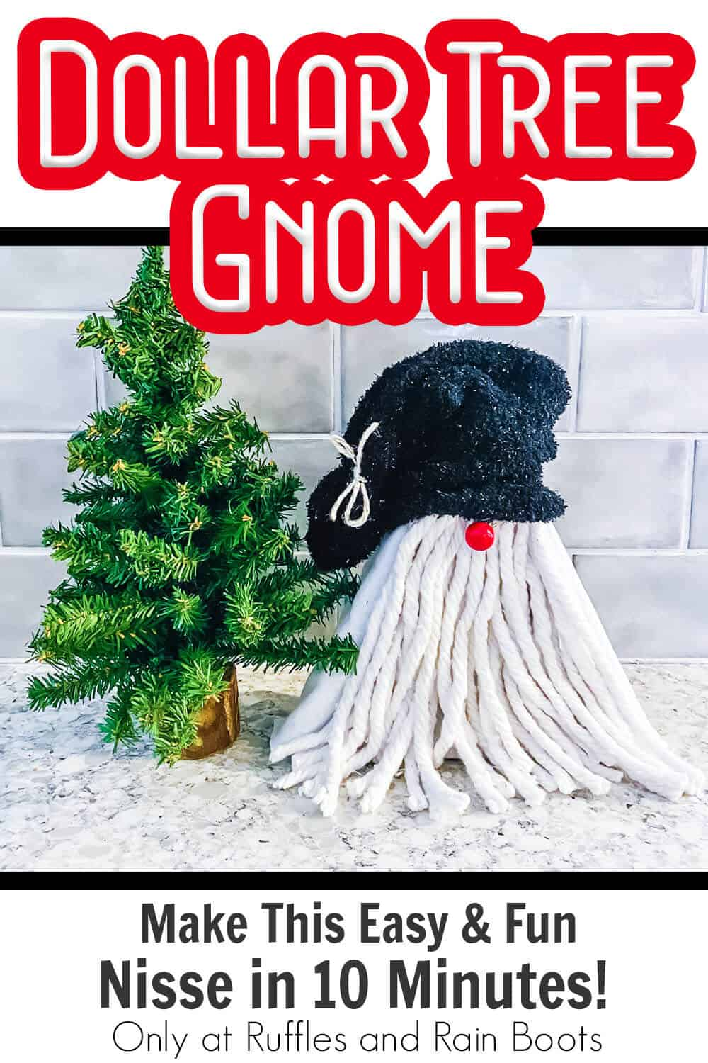 diy farmhouse gnome from a dollar tree shelf with text which reads dollar tree gnome make this easy & fun gnome in 10 minutes!