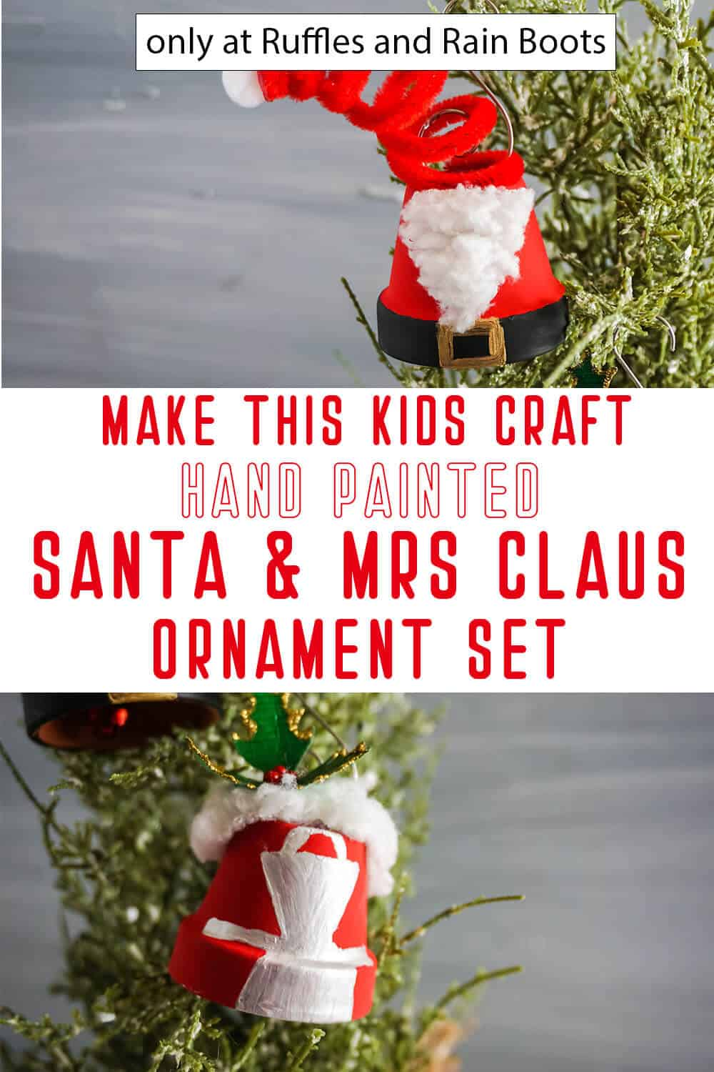 photo collage of santa and mrs claus christmas ornaments with text which reads make this kids craft hand painted santa & mrs claus ornament set