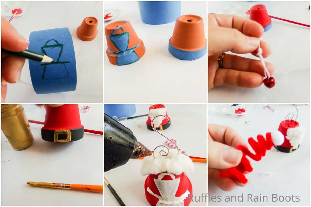 photo collage tutorial of how to make santa and mrs claus ornaments