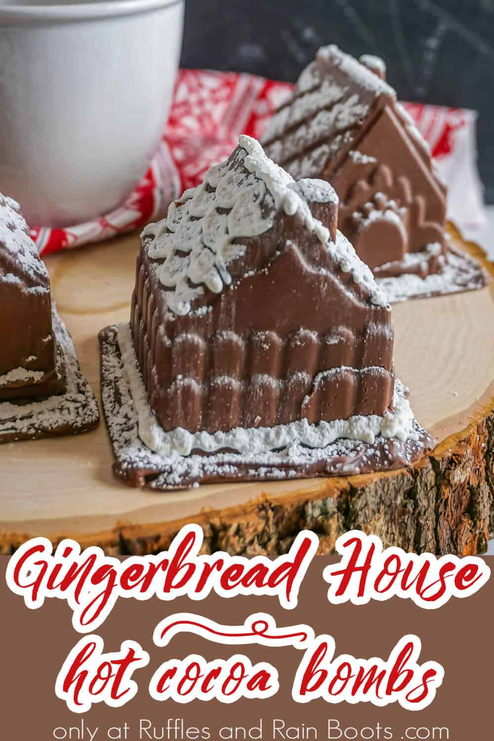 Hot Cocoa Bombs in the Shape of Gingerbread House with text which reads gingerbread house hot cocoa bombs