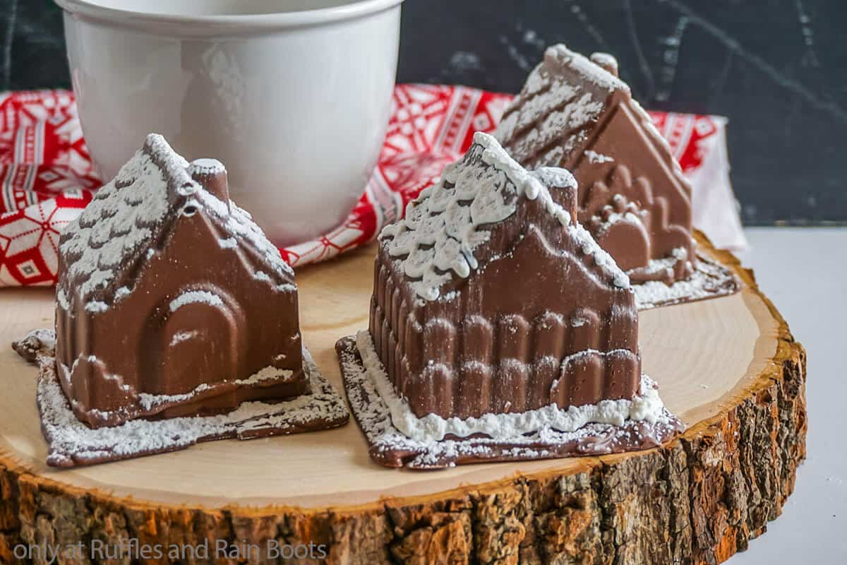 hot chocolate bomb gingerbread house shape