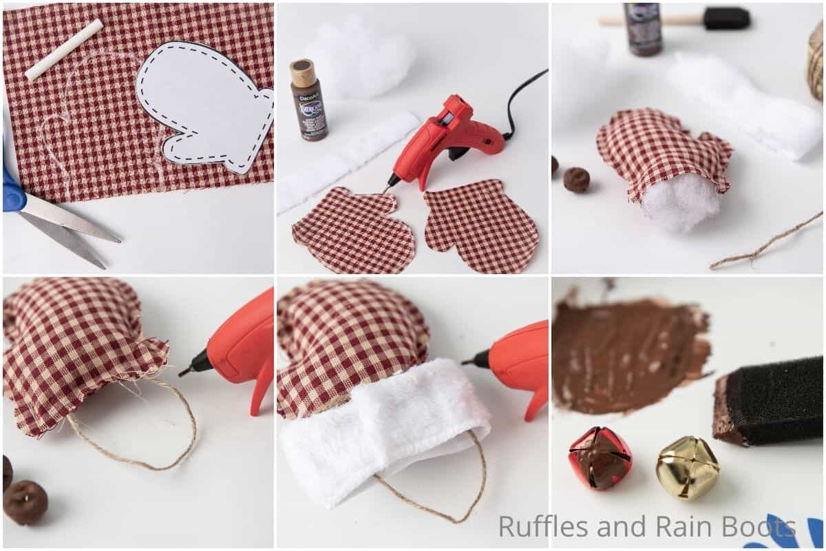 photo collage tutorial of how to make a no-sew mitten ornament